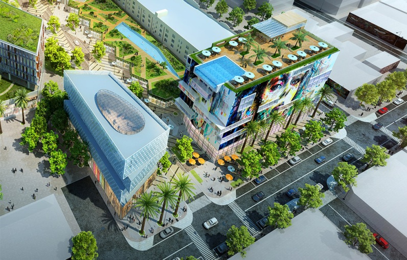 Render of Mana Wynwood Site with large internal block promenade