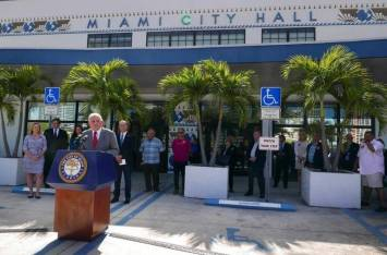 Mayor Regalado at a press conference about AirBnB