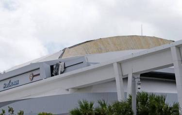 Part of the roof of Marlin Stadium