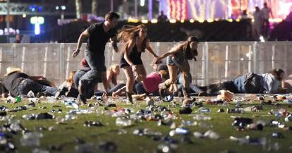 Concert goers flee a gunmen at a music festival in Las Vegas